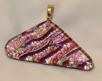 Fused Dichroic Glass Pendant-Red, Gold and Pink Mix No. 0049