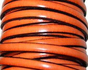 20 cm flat leather strap orange 5 mm wide