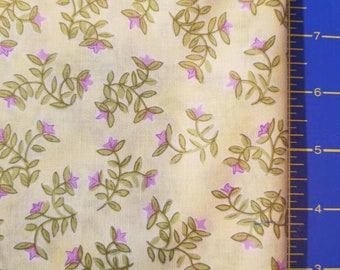 4 yards yellow cotton quilting fabric with small pink flowers with green leaves