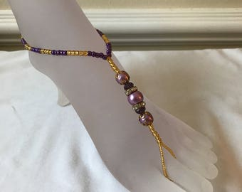 Barefoot Sandals - Purple and Gold