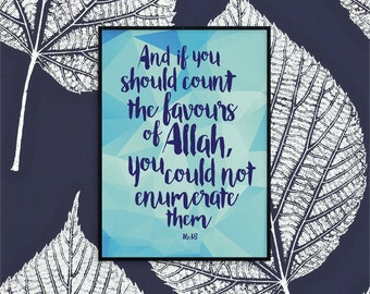 Islamic Wall Art — Favours of Allah illustration 8.5x11 instant print download!