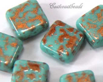 Square Beads, 10mm, Turquoise With Copper Splatters, Square Tile Beads, Accent Beads, Spacer Beads, Czech Glass Beads, 6 Pieces
