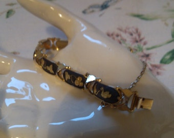 Swan and Leaf Black and Gold Link Bracelet