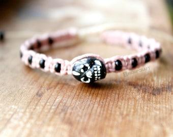Pink and Black Sugar Skull Hemp Bracelet