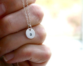 Small Initial Necklace - Sterling Silver Jewelry, Personalized Necklace, Personalized Jewelry, Initial Jewelry, Gift for Her, Simple, Dainty