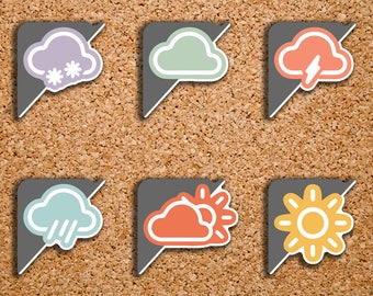 48 Weather Sampler Corner Label   Sunny, Rain, Partly Cloudy, Snow, Lightening, Cloudy   Stickers for 2017 Inkwell Press IWP-S76