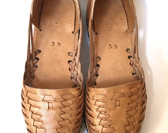 PRE-MADE Guatemalan Huaraches~Leather Huaraches~Huarache Sandals~Leather Slip On Sandals in Sand~Hand Woven~Hand Stitched~Foam Sole
