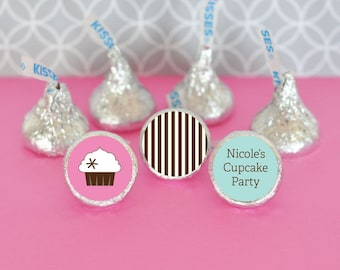 Hershey Kiss Labels-Cupcake Party Favors-Stickers for Candy Kisses-Personalized Hershey Kiss Favor Labels (set of 108)