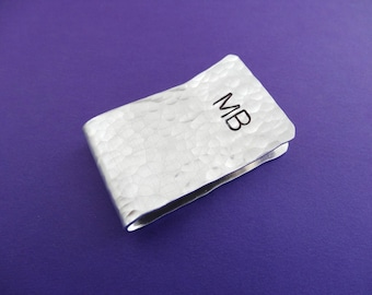 Personalized Money Clip - Initials - Hammered texture - Custom Money Clip