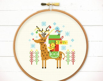 Christmas cross stitch pattern - Merry Christmas Deer n Friends - Modern cross stitch pattern PDF - Instant download