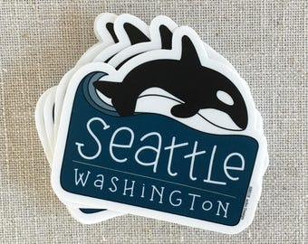 Seattle Whale Vinyl Sticker / Seattle Washington Sticker / Modern Laptop Sticker / Waterproof Water Bottle Sticker / Orca Whale Sticker