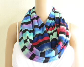 Stripe Infinity Scarf. Stripe Circle Scarf. Soft Cotton Spandex Loop Scarf.