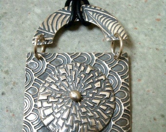 Fine Silver Pendant - Botanical - Zinnia - Textured PMC - Cord Necklace - OOAK