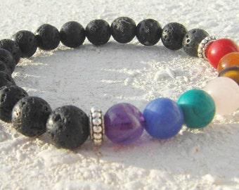 Black Lava 6mm Seven Chakra Mala Bracelet Silver Spacers Meditation Healing Calming Yoga Zen Black Balancing Rainbow Gemstone Centering