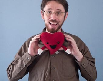 Small Plush Valentine's Happy Heart - Red