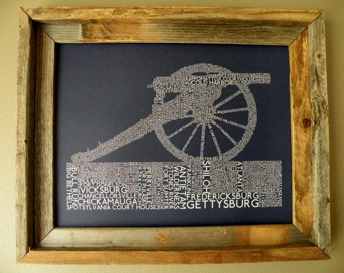 Civil War Battles Word Art Print (Dark Blue) - Unframed