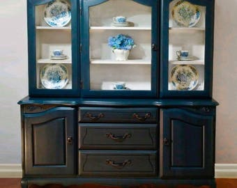 Navy blue and white French Provincial China Cabinet Hutch