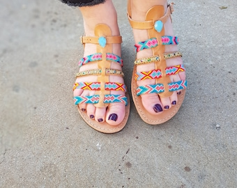 "70% Summer Sales, Bohemian Greek Sandals, Ankle Strap Sandals ""STAR SHINE''"