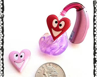 Hearing Aid Tube Trinkets:  Happy Valentine's Hearts!  Please select quantity 2 for a pair!  Great for boys or girls!