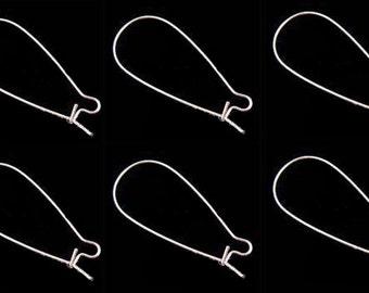 11x25mm Sterling Silver Plated Kidney Earrings Hooks