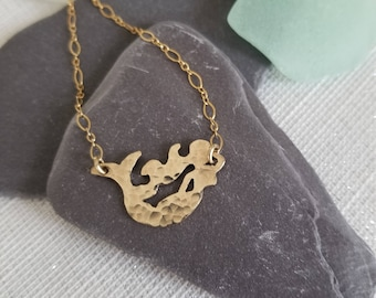 14kt Gold Filled Textured Mermaid Necklace