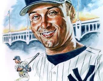 "Jeter - Faithful reproduction of my Original Watercolor utilizing archival quality paper & inks, 12""x16"""