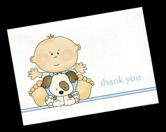 Baby Shower Thank You Cards - Baby Boy - Baby Boy With Puppy - Baby Boy Thank You Cards - Blank Cards - Note Cards - Set of 20