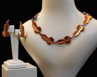 Renoir 1950s Copper Leaves Vintage Jewellery Set