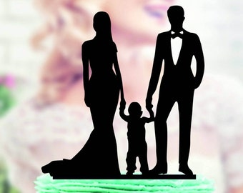 Wedding Cake Topper Silhouette Groom and Bride with little Boy