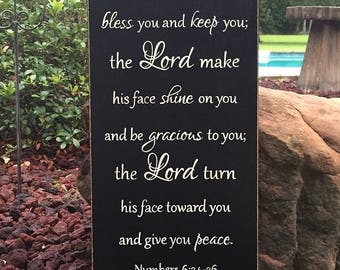 "The Lord bless you and keep you...Numbers 6:24-26 - Scripture Sign - 12"" x 24"" SIgnsbyDenise"