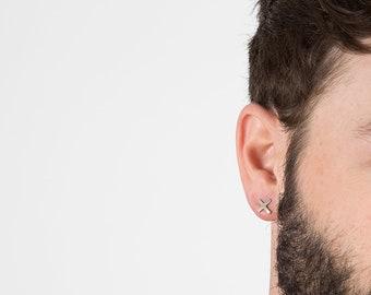 X Earring, X Earring Men, X Stud, X Stud Men, Men's Earring, X Bar Earring, Mens Jewelry, Small Earring for Men, Tiny Earring for Men, Cross