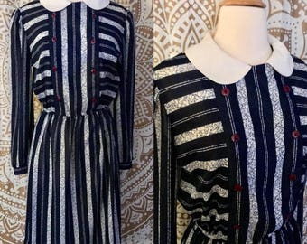 VTG 70s 80s Retro Blue Striped Peter Pan Collar Secretary Party Dress M/L