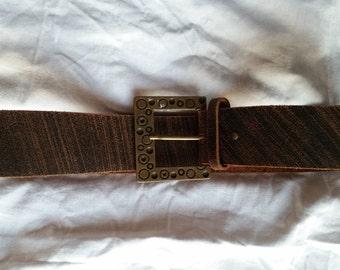 Vintage 1980's Brown Leather Belt