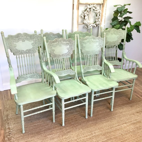 Green Antique Chairs Farmhouse Style Kitchen or Dining Room, Pressed Backed Chairs, Coastal or Country Cottage Furniture
