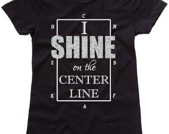 I Shine on the Center Line Dressage Short Sleeve Shirt - Horse Tee - Equestrian Clothing - Riding Clothes - Black Fitted T-Shirt