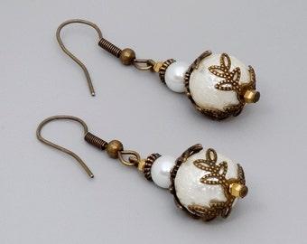Pearl Earrings, Brass Pearl Earrings, Simple Earrings, Antique Pearl Earrings, White Pearl Earring, Dangle Earrings, Pearl Drop Earrings