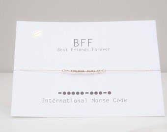 Bff Morse Code Necklace, Best Friend Forever Necklace, Sister Message, Sterling Morse Code, Bff Gift, Bff Morse Code Jewelry, Friends