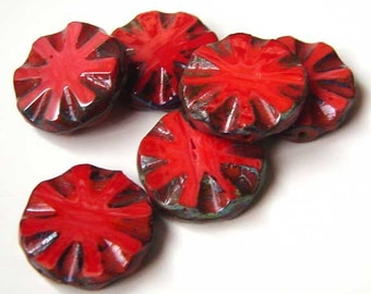 Red Picasso Czech Beads Sunburst Disc -Table Cut - Wheel