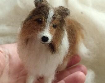 Needle Felted Dog Pet Portrait Sheltie Shetland Sheepdog Collie