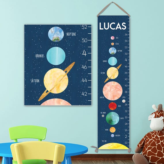 Space Growth Chart - Personalized Canvas Growth Chart, Space Nursery Decor or Solar System Nursery, Solar System Print - GC3015S