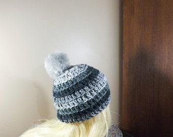 Grey Beanie with PomPom, Toque with Faux Fur PomPom, Ski Hat, Women's Winter Hat, Crochet Beanie