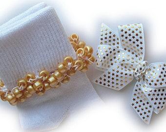 Kathy's Beaded Socks - Gold Stars on White Socks and Hairbow, holiday socks, pony bead socks, gold socks, pearl socks, feather socks