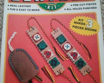Vintage Craft House Genuine Leather Kit 1980s Complete Set Rainy Day Activity 1980s