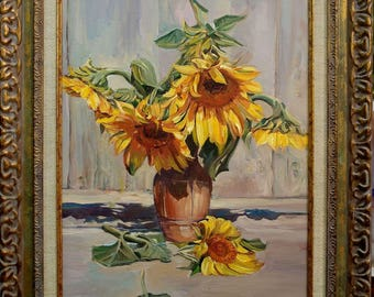 Still life with Sunflowers ,after V. Palachev,still-life, oil painting,impressionism,31/41,framed