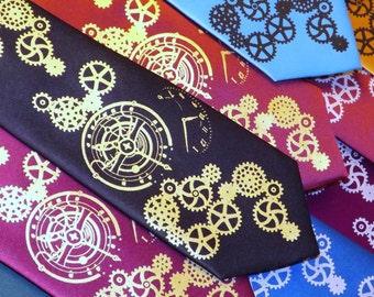 RokGear Steampunk custom color mens necktie Clock Works design