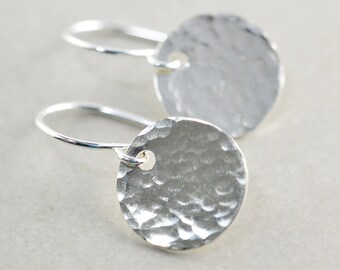 Hammered Disc Earrings, Silver Disc Earrings, Textured Coin Earrings