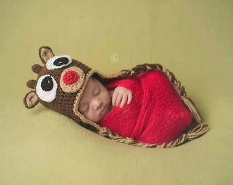 Rudolph hat newborn photo prop ready to ship