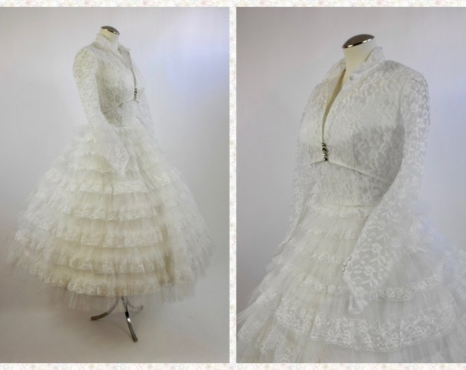 1950's Wedding Dress - Tulle and Lace - Prom Dress - Winter Wedding - White Lace Cotillion Dress with Shelf Bust and Matching Bolero