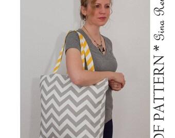 Beach Bag Tote pattern. Reusable shopping bag pattern - Grocery bag pattern. Tote bag sewing patterns