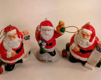 Set Of 3 Collectible CVS Santas From The 1990s/Santas With The List Are Plastic From 1993/Santa Holding Up The Teddy is Ceramic From 1995 (F